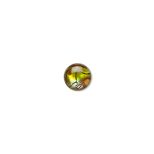 cabochon, paua shell (dyed / coated), gold, 8mm calibrated round, mohs hardness 3-1/2. sold per pkg of 6.