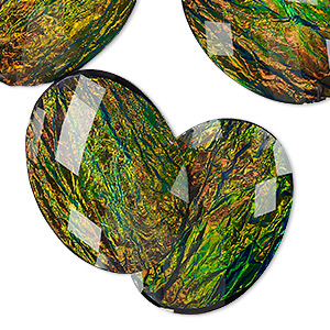 cabochon, resin, opalescent black and multicolored, 40x30mm non-calibrated faceted oval. sold per pkg of 4.