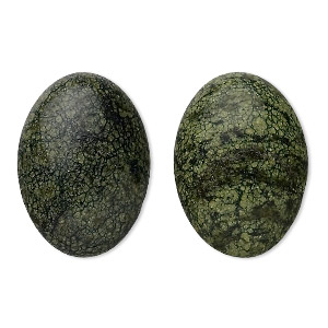 cabochon, russian serpentine (natural), 25x18mm calibrated oval, b grade, mohs hardness 2-1/2 to 5. sold per pkg of 2.