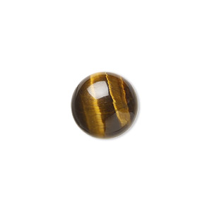 cabochon, tigereye (natural), 12mm calibrated round, b grade, mohs hardness 7. sold per pkg of 6.