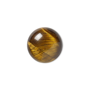 cabochon, tigereye (natural), 14mm calibrated round, b grade, mohs hardness 7. sold per pkg of 4.