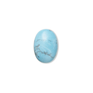 cabochon, turquoise (assembled), 14x10mm calibrated oval, mohs hardness 5 to 6. sold per pkg of 2.