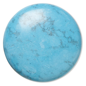 cabochon, turquoise (assembled), 38mm calibrated round, mohs hardness 5 to 6. sold individually.