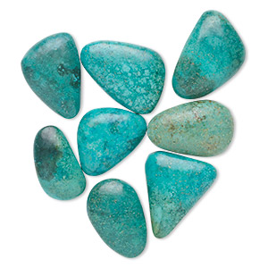 cabochon, turquoise (dyed / stabilized), 17x12mm-22x16mm non-calibrated freeform, c grade, mohs hardness 5 to 6. sold per 100-carat pkg, approximately 10 cabochons.