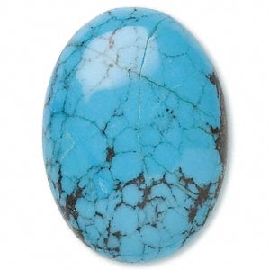 cabochon, turquoise (dyed / stabilized), 25x18mm calibrated oval, b grade, mohs hardness 5 to 6. sold individually.