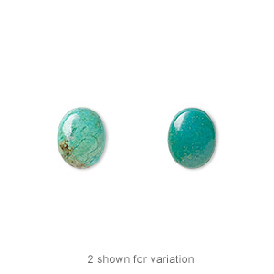 cabochon, turquoise (dyed / stabilized), blue, 10x8mm calibrated oval, c grade, mohs hardness 5 to 6. sold per pkg of 4.