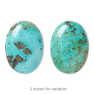 cabochon, turquoise (dyed / stabilized), blue, 25x18mm calibrated oval, c grade, mohs hardness 5 to 6. sold individually.