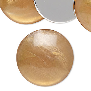 cabochon, vintage german acrylic, pearlized marbled translucent peach and gold, 30mm non-calibrated round. sold per pkg of 6.