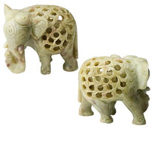 carving, soapstone (natural), 4 x 3-1/4 inch hand-carved elephant, mohs hardness 1 to 2-1/2. sold individually.