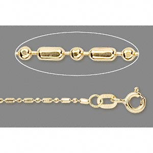 chain, 14kt gold, 1.2mm round and capsule, 16-inch. sold individually.