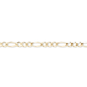 chain, 14kt gold, 2.6mm beveled figaro, 16 inches with lobster claw clasp. sold individually.