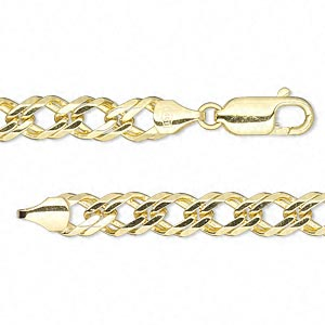 chain, 14kt gold, 6mm double curb, 7 inches with lobster claw clasp. sold individually.