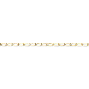 chain, 14kt gold-filled, 2mm drawn flat cable. sold per pkg of 5 feet.