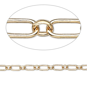 chain, 14kt gold-filled, 6x3mm smooth oval with 3mm round link. sold per pkg of 5 feet.