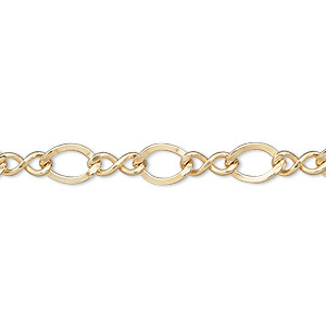chain, 14kt gold-filled, 7x6mm figure 8. sold per pkg of 5 feet.