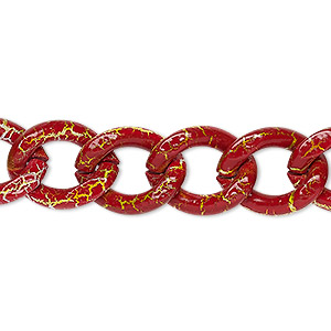 chain, aluminum, crackled red / white / yellow, 13mm curb. sold per pkg of 24 inches.