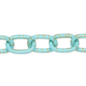 chain, aluminum, crackled turquoise blue and gold, 12mm cable. sold per pkg of 24 inches.