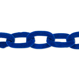 chain, aluminum, flocked cobalt, 12mm cable. sold per pkg of 24 inches.