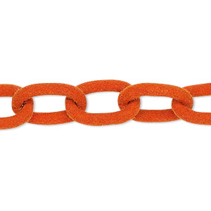 chain, aluminum, flocked orange, 12mm cable. sold per pkg of 24 inches.