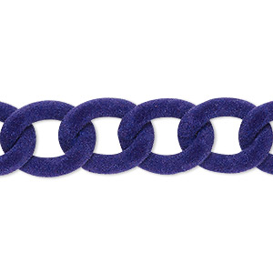 chain, aluminum, flocked purple, 13mm curb. sold per pkg of 24 inches.