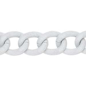 chain, aluminum, flocked white, 13mm curb. sold per pkg of 24 inches.