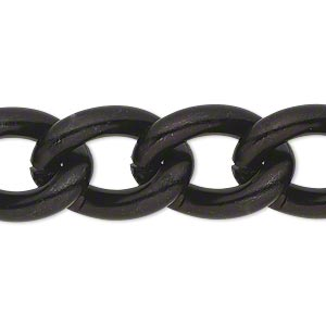 chain, anodized aluminum, black, 16mm curb. sold per pkg of 5 feet.