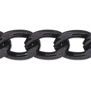 chain, anodized aluminum, black, 7mm curb. sold per pkg of 5 feet.