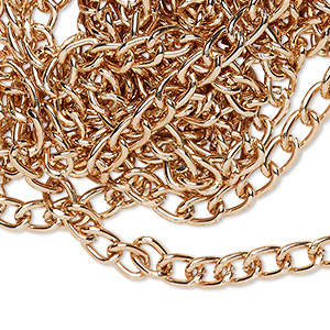 chain, anodized aluminum, copper, 4.5mm curb. sold per pkg of 5 feet.