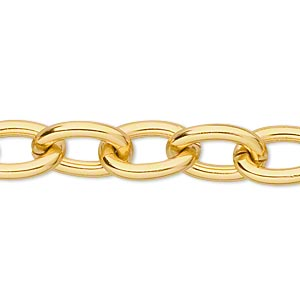 chain, anodized aluminum, gold, 11mm oval cable. sold per pkg of 5 feet.