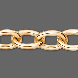 chain, anodized aluminum, gold, 14mm oval cable. sold per pkg of 25 feet.