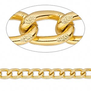 chain, anodized aluminum, gold, 5mm curb. sold per pkg of 5 feet.