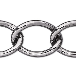chain, anodized aluminum, gunmetal, 23mm curb. sold per pkg of 5 feet.