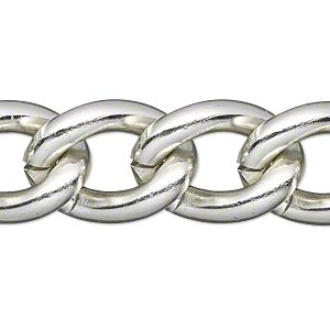 chain, anodized aluminum, silver, 16mm curb. sold per pkg of 5 feet.