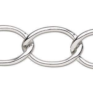 chain, anodized aluminum, silver, 23mm cable. sold per pkg of 5 feet.