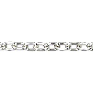 chain, anodized aluminum, silver, 5mm oval cable. sold per pkg of 5 feet.