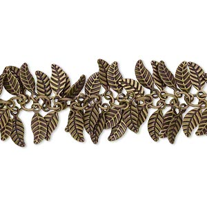 chain, antique brass-plated brass, 7x3.5mm double-sided leaf. sold per pkg of 1 foot.