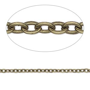 chain, antique brass-plated steel, 2mm flat cable. sold per pkg of 5 feet.