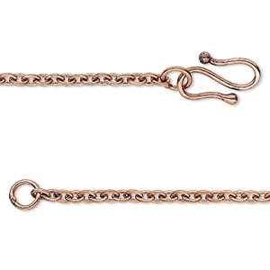 chain, antique copper-plated brass, 2.5mm cable, 18 inches. sold individually.