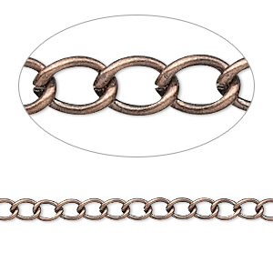 chain, antique copper-plated brass, 3.5mm curb. sold per pkg of 5 feet.