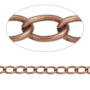 chain, antique copper-plated brass, 4mm curb. sold per 50-foot spool.