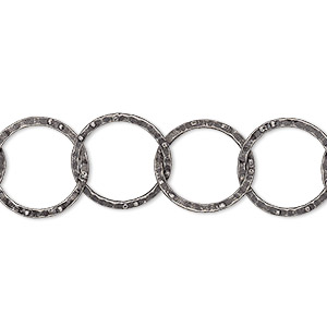 chain, antique silver-plated brass, 14mm hammered round cable. sold per pkg of 5 feet.