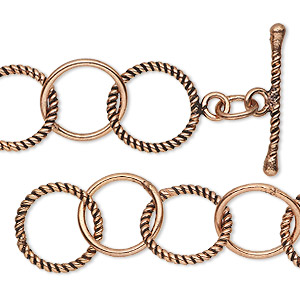 chain, antiqued copper, 13.5mm smooth and textured round cable, 6-1/2 inches with toggle clasp. sold individually.