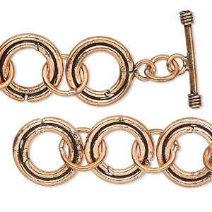 chain, antiqued copper, 16mm round link, 36 inches with toggle clasp. sold individually.