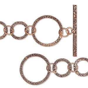 chain, antiqued copper, 25mm textured round links, 7 inches with toggle clasp. sold individually.
