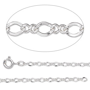 chain, argentium silver, 2mm figure 8, 16 inches with springring clasp. sold individually.