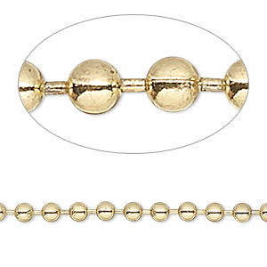 chain, brass-plated steel, 3.2mm ball. sold per 50-foot spool.