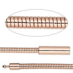 chain, copper-plated brass, 3mm omega, 7 inches with pop-style clasp. sold individually.