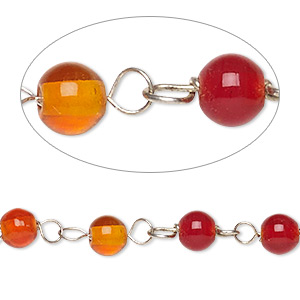 chain, glass and silver-finished copper, opaque red and translucent orange, 6mm beaded round. sold per 1-meter strand.
