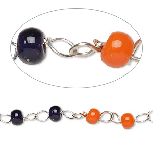 chain, glass and silver-finished copper, translucent dark blue and opaque orange, 4mm beaded round. sold per 26-inch strand.