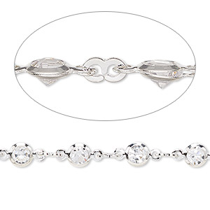 chain, glass and silver-plated brass, clear, 3mm figure 8 and 5mm round. sold per pkg of 1 meter.
